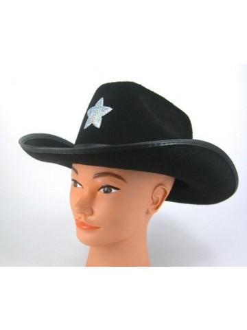 Черная шляпа шерифа со звездой