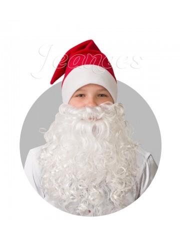 Колпак красный с бородой из плюша фото