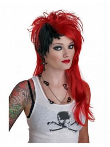 Красно-чёрный панк парик