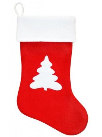 Красный рождественский носок с Елкой
