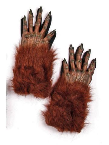 Меховые коричневые перчатки оборотня