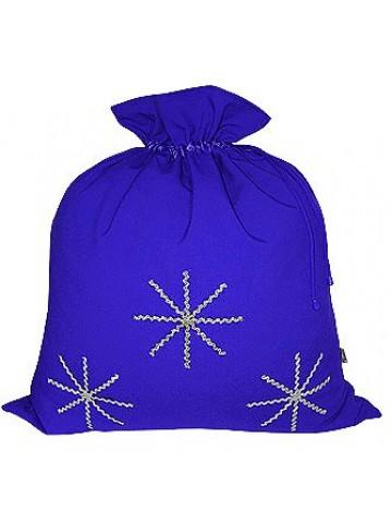 Синий новогодний подарочный мешок Серебристые снежинки