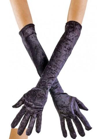 Вельветовые черные перчатки 50 см