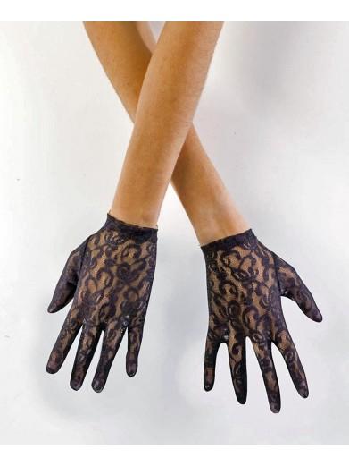 Черные кружевные перчатки 20 см