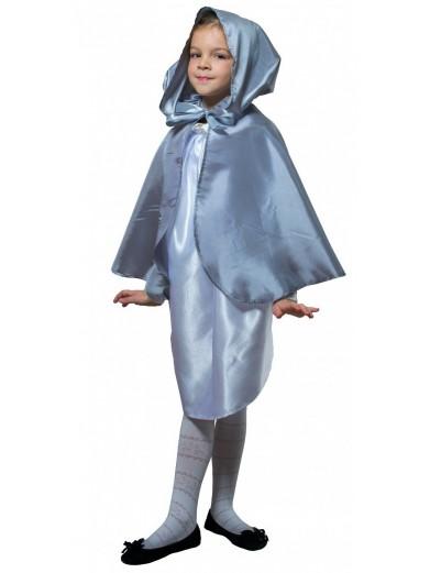 Детский плащ серебристый короткий с капюшоном фото