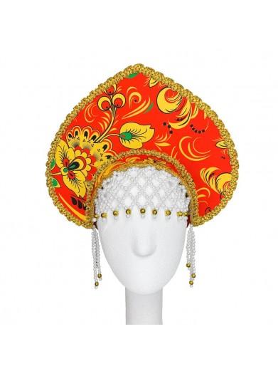 Кокошник королевны в стиле красной хохломы
