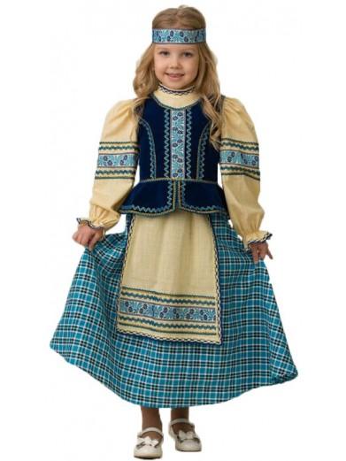 Костюм Народный голубой девочке фото