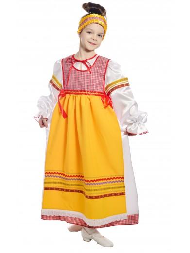 Костюм народный с фартуком детский красный фото