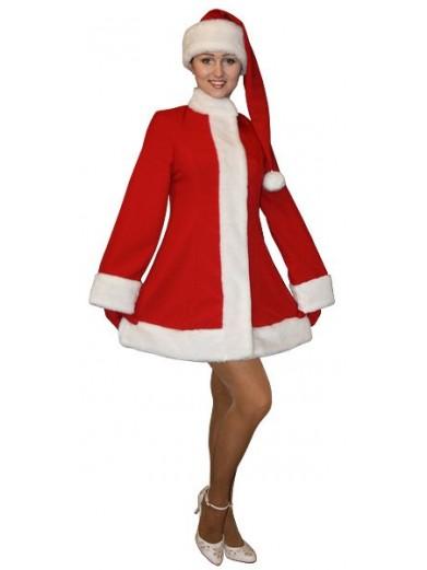 Красный короткий костюм Снегурочки с колпаком