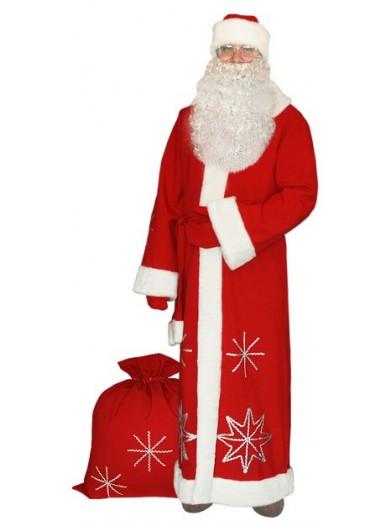 Красный костюм Серебристые снежинки для Деда Мороза с бородой