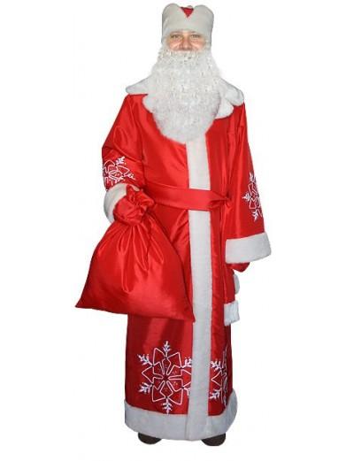 Красный костюм Снежинка для Деда Мороза с бородой