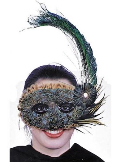 Перьевая маска на пол лица
