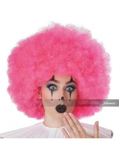 Розовый парик клоуна